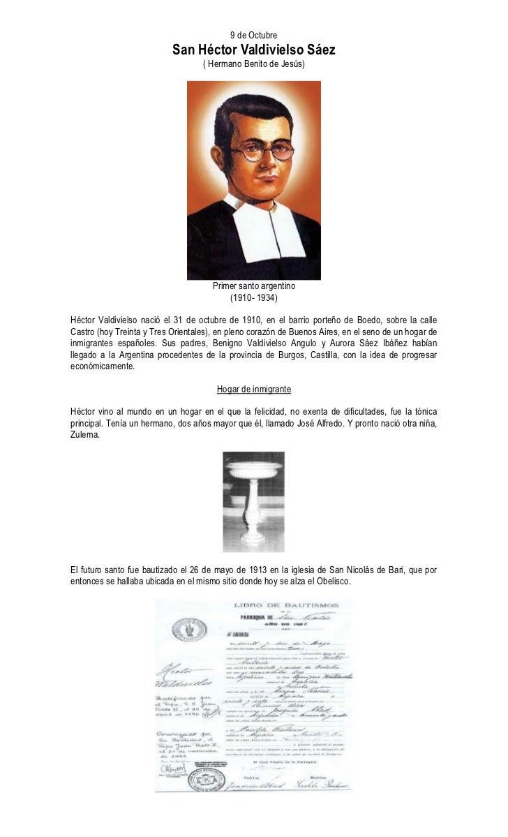 9 de Octubre                            San Héctor Valdivielso Sáez                                    ( Hermano Benito de...