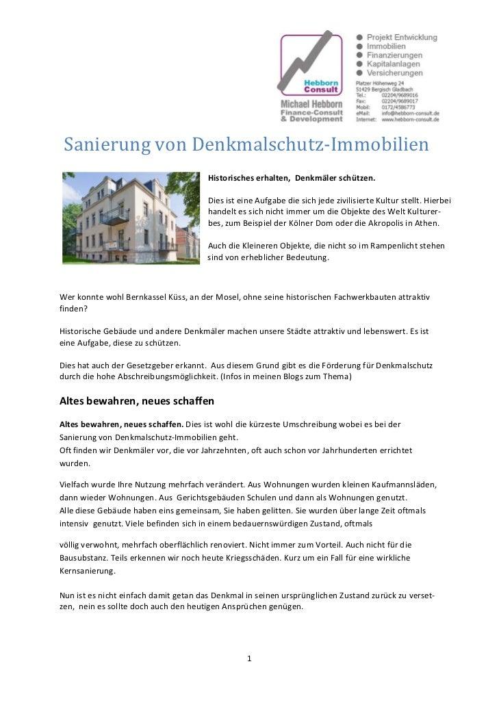 Sanierung von Denkmalschutz‐Immobilien