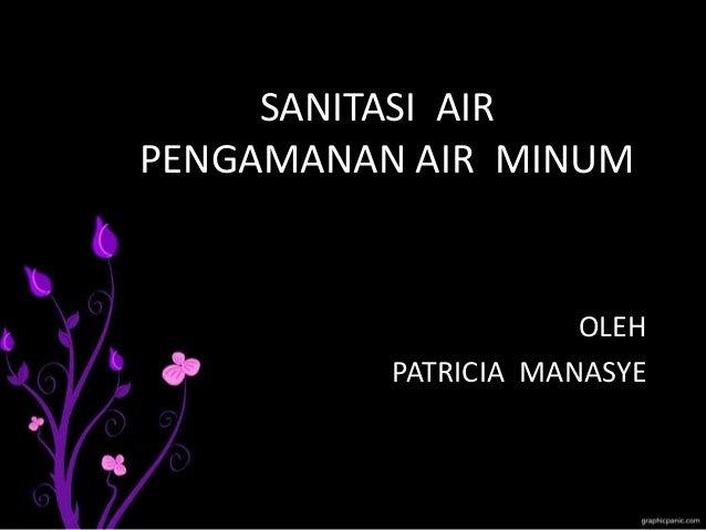 SANITASI AIR PENGAMANAN AIR MINUM OLEH PATRICIA MANASYE