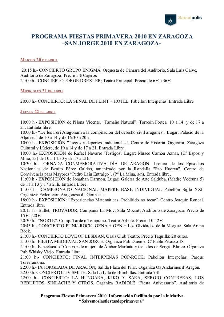 PROGRAMA FIESTAS PRIMAVERA 2010 EN ZARAGOZA             –SAN JORGE 2010 EN ZARAGOZA-  MARTES 20 DE ABRIL   20:15 h.- CONCI...