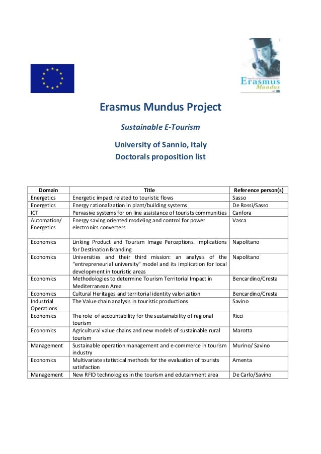 Erasmus Mundus Project Sustainable E-Tourism University of Sannio, Italy Doctorals proposition list Domain Title Reference...