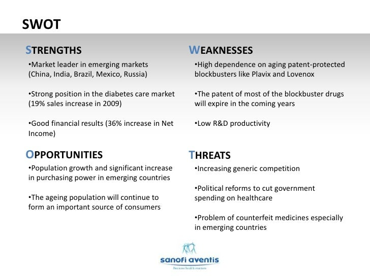 sanofi aventis swot analysis Another part of the report is a swot-analysis carried out for sanofi-aventis it involves specifying the objective of the company's business and identifies the different factors that are favorable and unfavorable to achieving that objective.