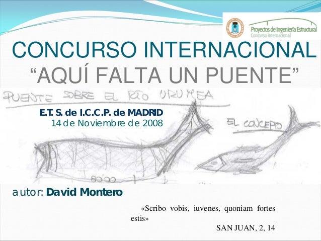 """CONCURSO INTERNACIONAL """"AQUÍ FALTA UN PUENTE"""" E.T. S. de I.C.C.P. de MADRID 14 de Noviembre de 2008 autor: David Montero «..."""