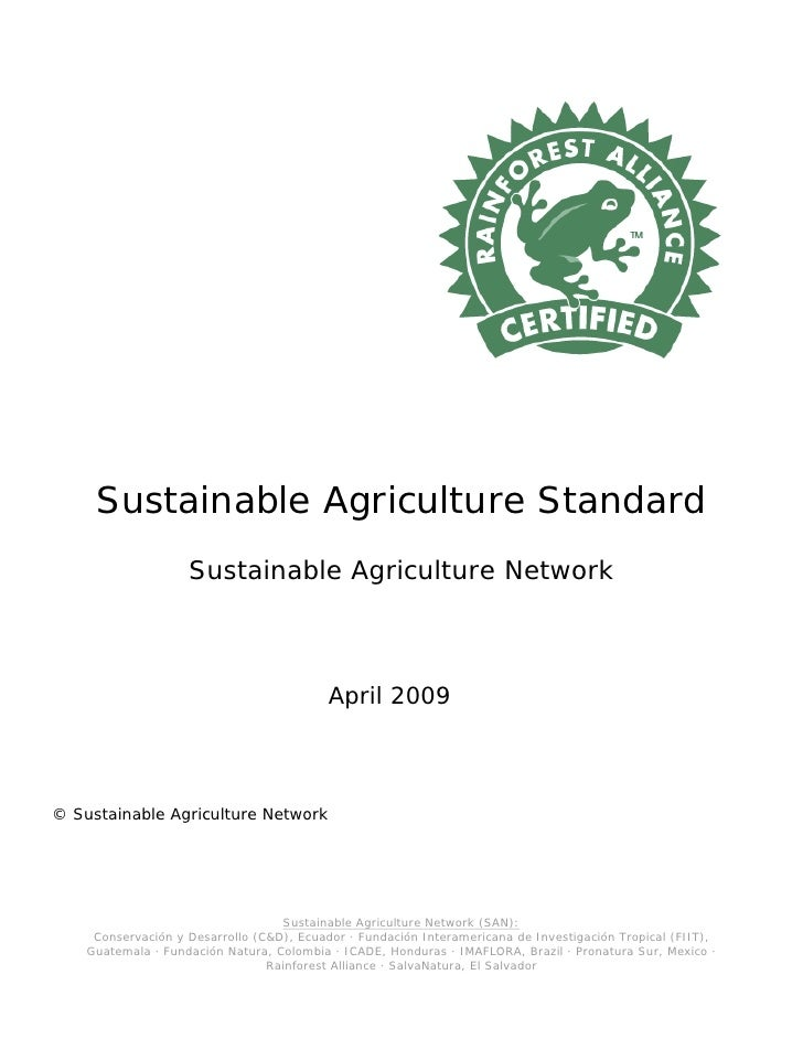 San sustainable agriculture standard april 2009