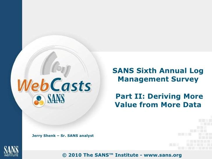 SANS Log Management 2