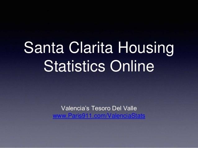 Santa Clarita Housing Statistics Online Valencia's Tesoro Del Valle www.Paris911.com/ValenciaStats