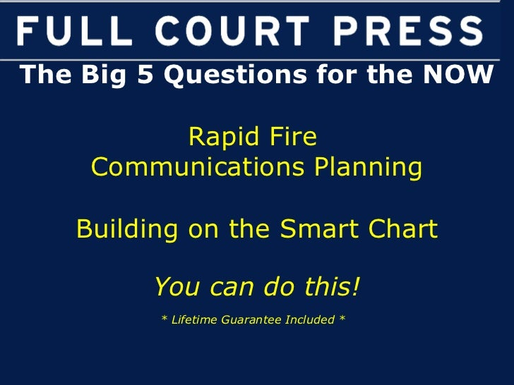 The Big 5 Questions for the NOW Rapid Fire  Communications Planning Building on the Smart Chart You can do this! * Lifetim...