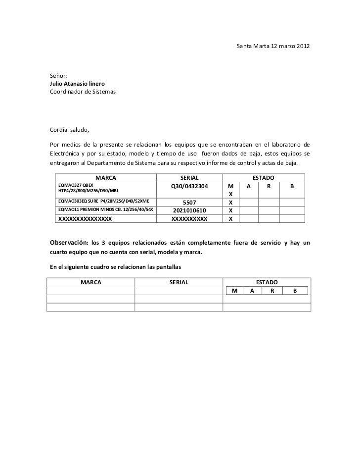 Santa Marta 12 marzo 2012Señor:Julio Atanasio lineroCoordinador de SistemasCordial saludo,Por medios de la presente se rel...