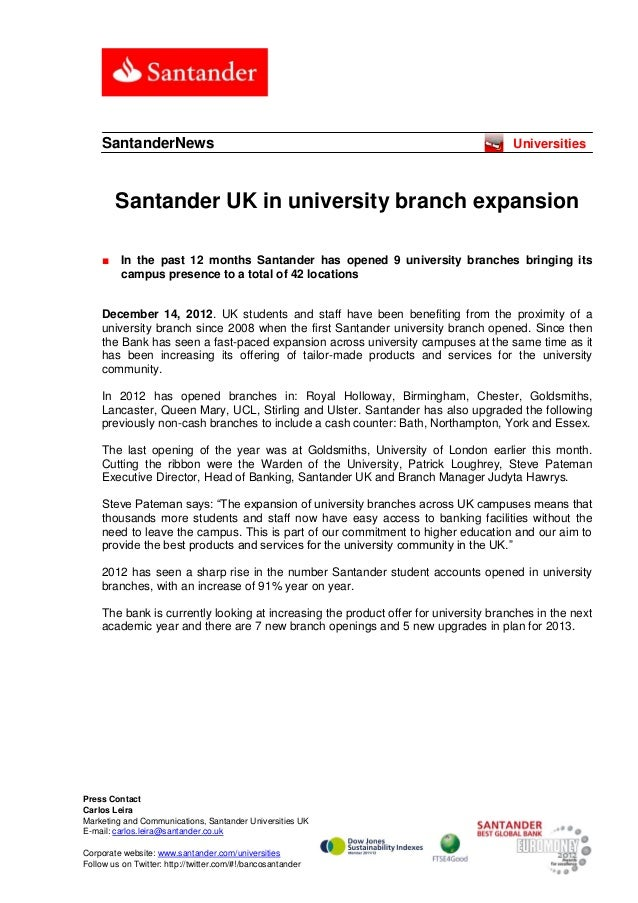 Santander UK in university branch expansion