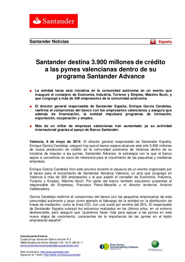 Santander destina 3.900 millones de crédito a las pymes valencianas dentro de su programa Santander Advance