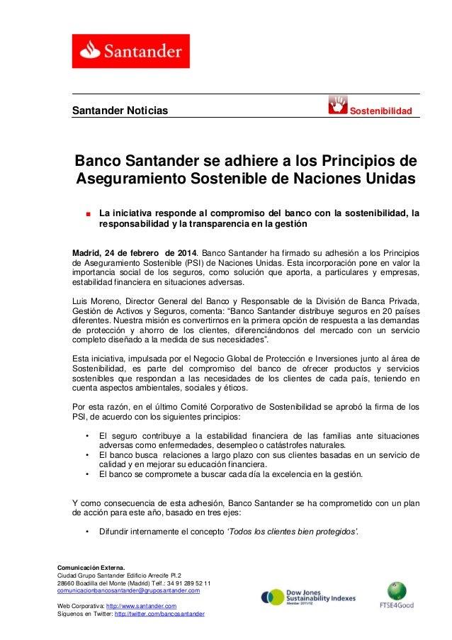 Banco Santander se adhiere a los Principios de Aseguramiento Sostenible de Naciones Unidas