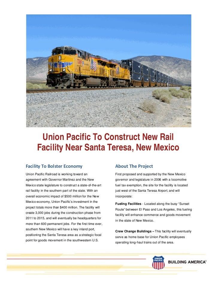 Union Pacific To Construct New Rail        Facility Near Santa Teresa, New MexicoFacilityToBolsterEconomy             ...