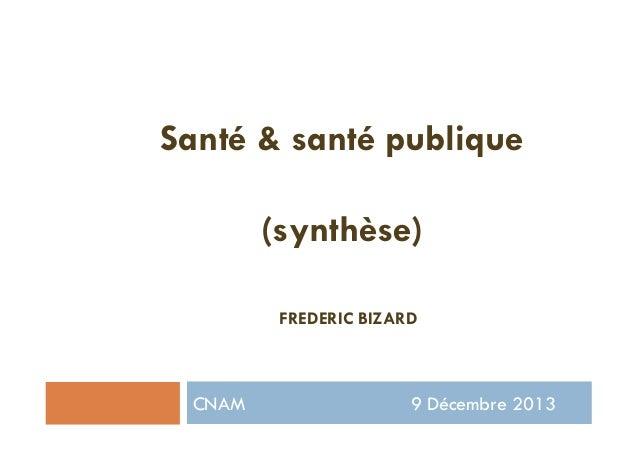 CNAM 9 Décembre 2013 Santé & santé publique (synthèse) FREDERIC BIZARD