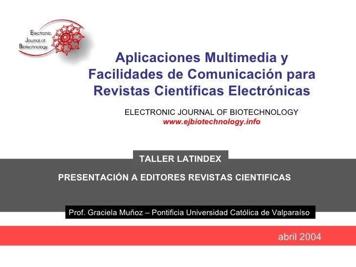 Aplicaciones multimedia y facilidades de comunicación para revistas electrónicas-Muñoz