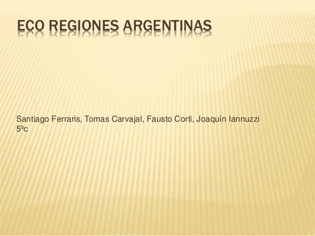 ECO REGIONES ARGENTINAS Santiago Ferraris, Tomas Carvajal, Fausto Corti, Joaquín Iannuzzi 5ºc