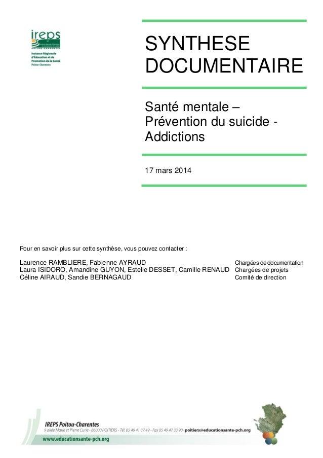 Santé mentale prévention suicide addiction