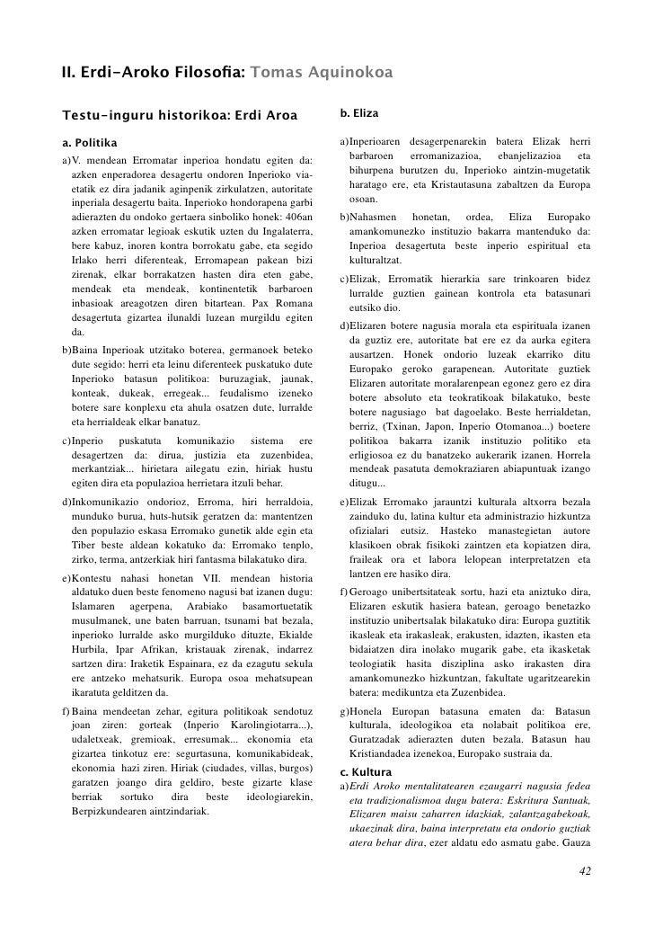 II. Erdi-Aroko Filosofia: Tomas Aquinokoa  Testu-inguru historikoa: Erdi Aroa                           b. Eliza  a. Politi...