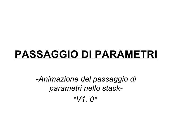 PASSAGGIO DI PARAMETRI -Animazione del passaggio di parametri nello stack- *V1. 0*