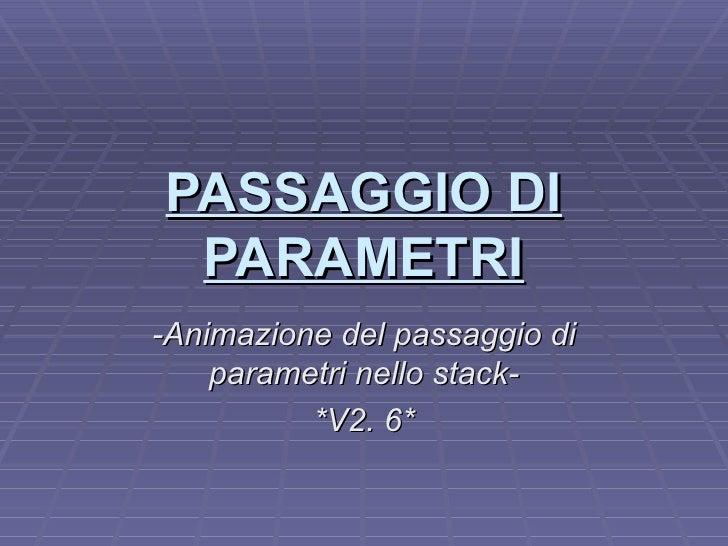 PASSAGGIO DI PARAMETRI -Animazione del passaggio di parametri nello stack- *V2. 6*