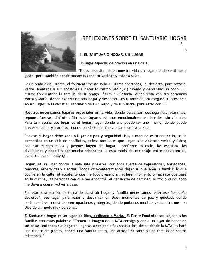1REFLEXIONES          SOBRE EL SANTUARIO HOGAR                                                                            ...