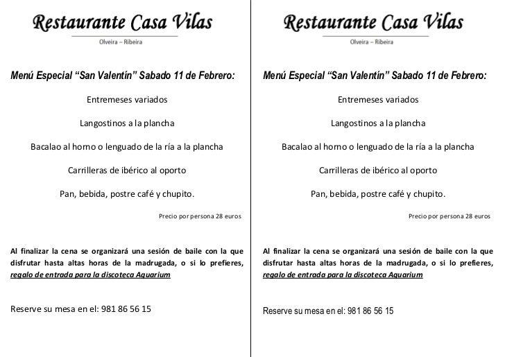 """Menú Especial """"San Valentín"""" Sabado 11 de Febrero:                     Menú Especial """"San Valentín"""" Sabado 11 de Febrero: ..."""