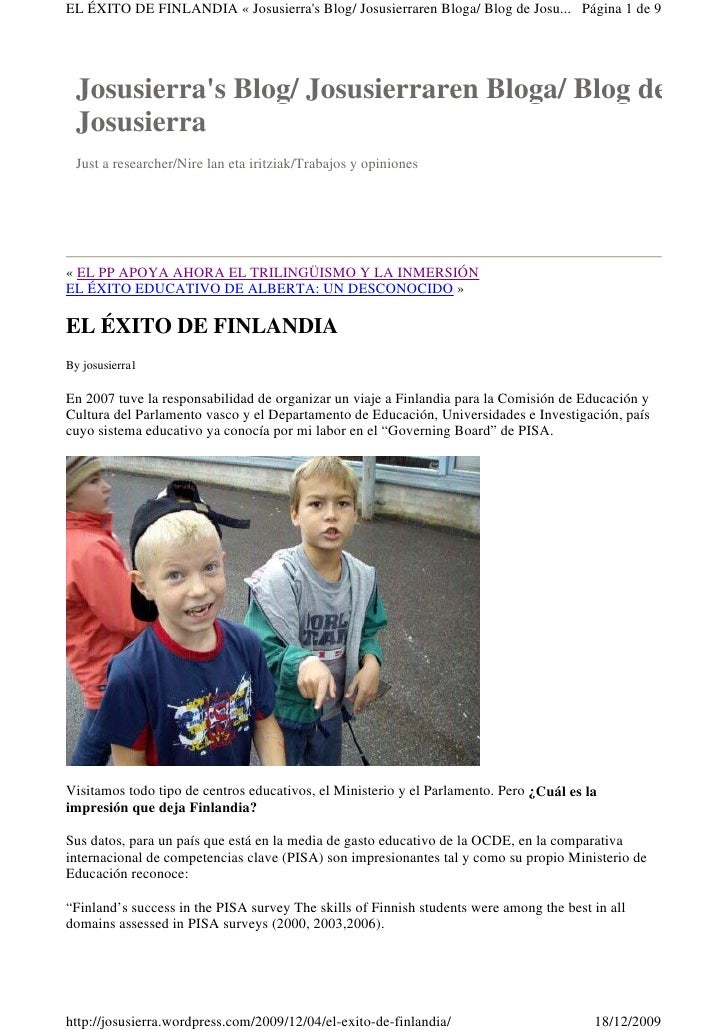 EL ÉXITO DE FINLANDIA « Josusierra's Blog/ Josusierraren Bloga/ Blog de Josu... Página 1 de 9      Josusierra's Blog/ Josu...
