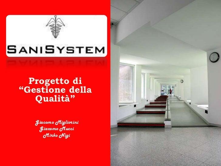 """Progetto di""""Gestione della Qualità""""<br />Giacomo Migliorini<br />Giacomo Mucci<br />Mirko Nigi<br />"""