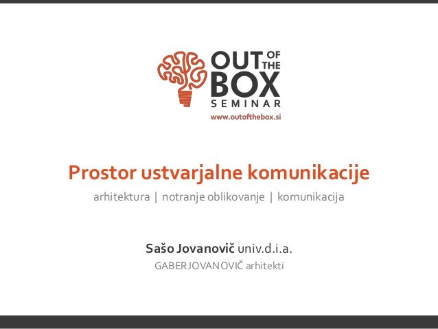 Prostor ustvarjalne komunikacije  arhitektura | notranje oblikovanje | komunikacija            Sašo Jovanovič univ.d.i.a. ...