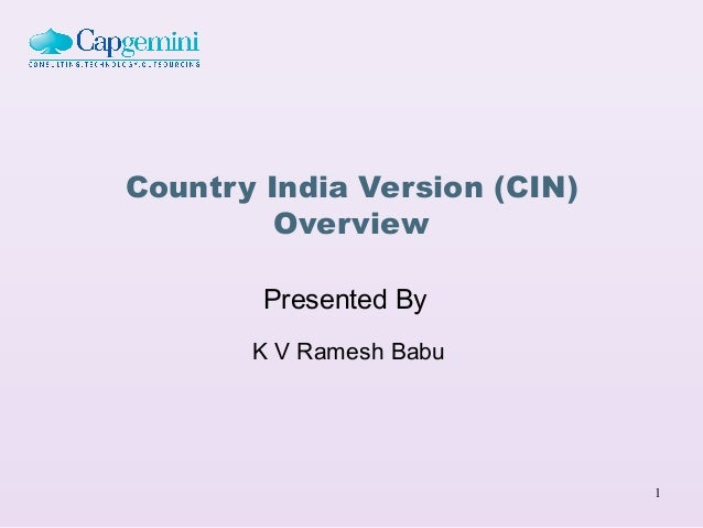 Country India Version (CIN)         Overview        Presented By       K V Ramesh Babu                              1