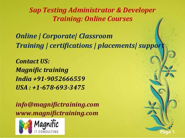Sap Testing Administrator & Developer Training: Online Courses Online | Corporate| Classroom Training | certifications | p...