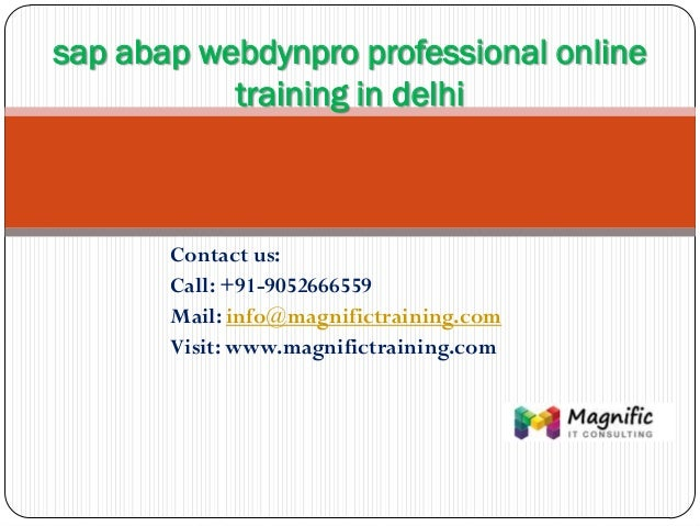 Sap abap webdynpro professional online training in delhi