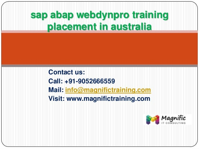 Sap abap webdynpro training placement in australia