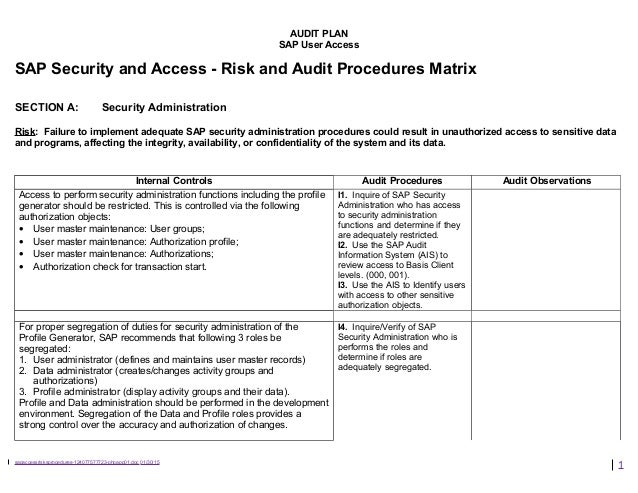 AUDIT PLAN SAP User Access SAP Security and Access - Risk and Audit Procedures Matrix SECTION A: Security Administration R...