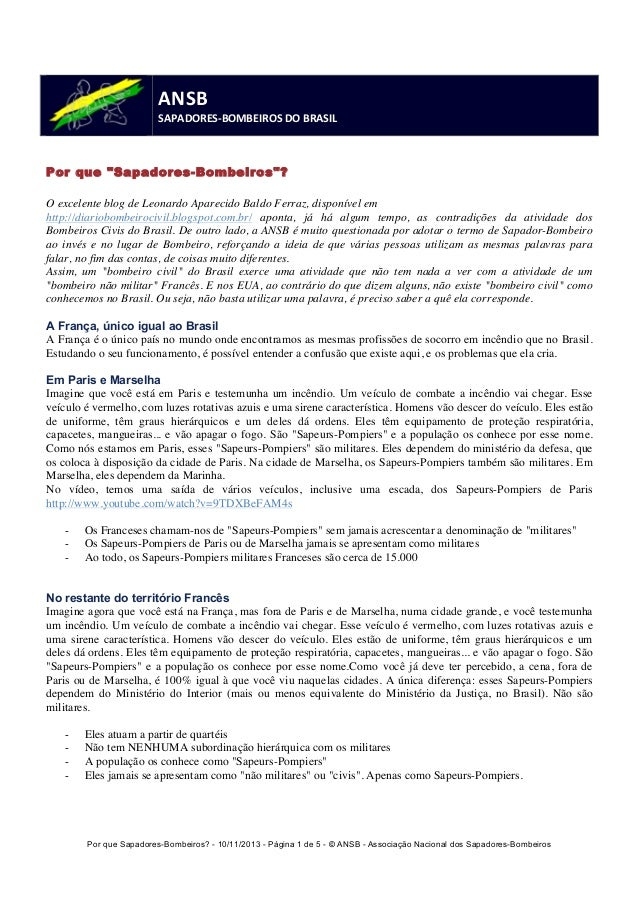 Por que Sapadores-Bombeiros? - 10/11/2013 - Página 1 de 5 - © ANSB  - Associação Nacional dos Sapadores-Bombeiros  ANSB  S...
