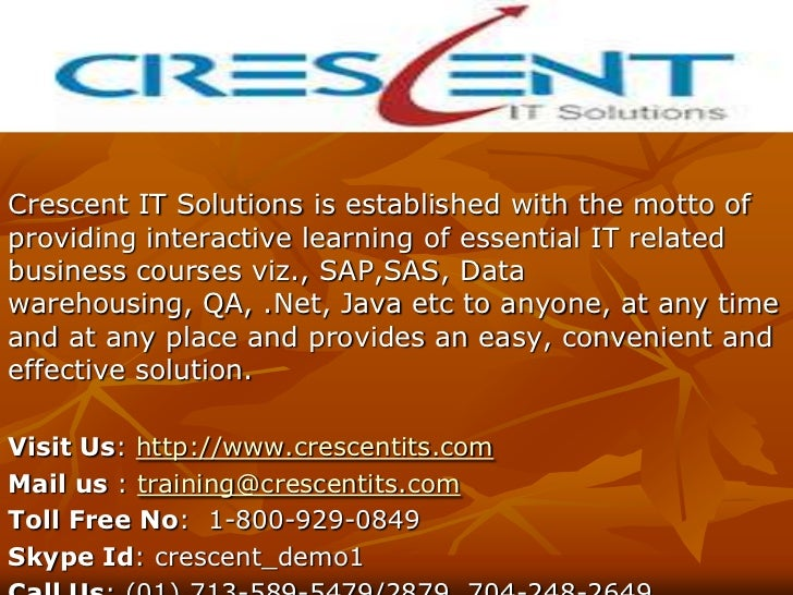 Crescent IT Solutions is established with the motto ofproviding interactive learning of essential IT relatedbusiness cours...