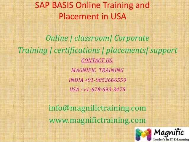 SAP BASIS Online Training and Placement in USA Online | classroom| Corporate Training | certifications | placements| suppo...