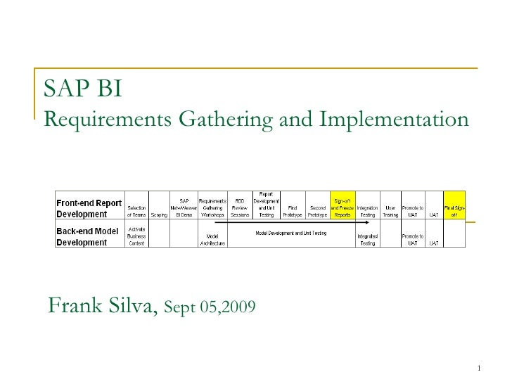 SAP BI Requirements Gathering and Implementation Frank Silva,  Sept 05,2009