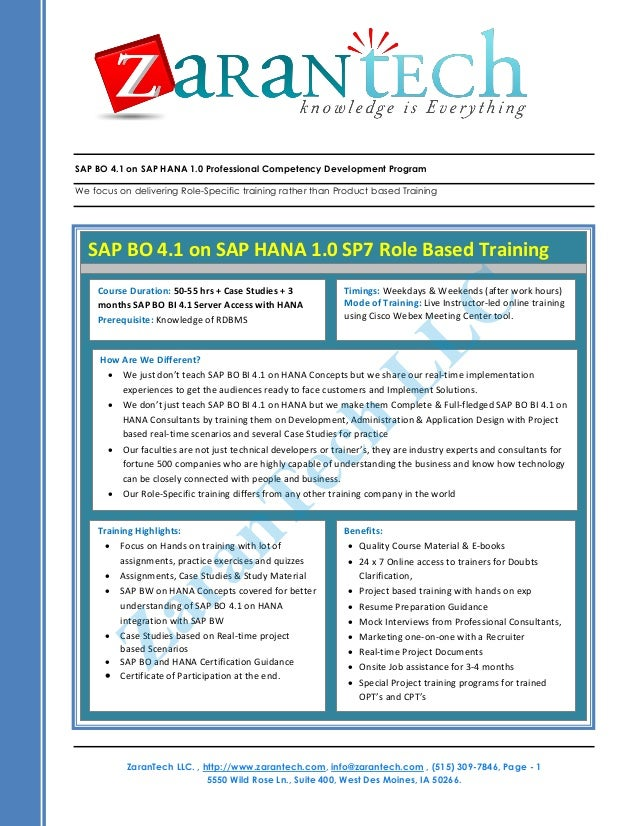SAP BO 4.1 on SAP HANA 1.0 Professional Competency Developm
