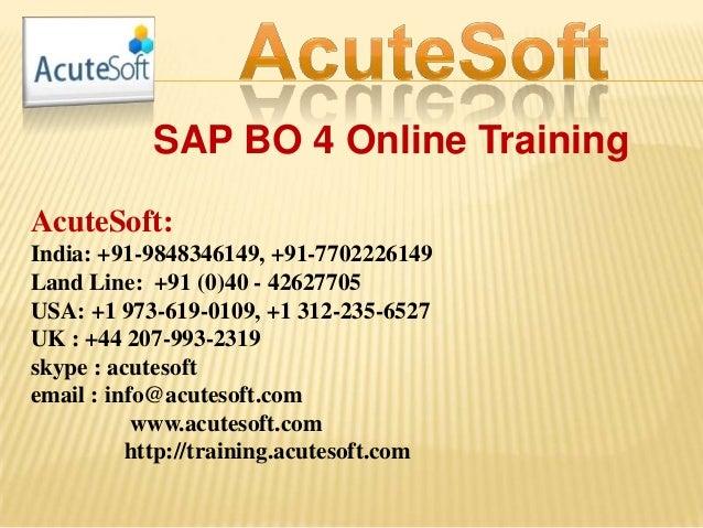 SAP BO 4.1 ONLINE TRAINING