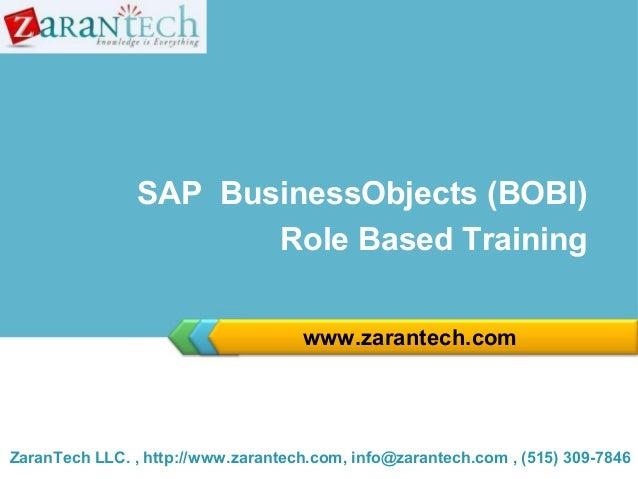 SAP BOBI Training from ZaranTech