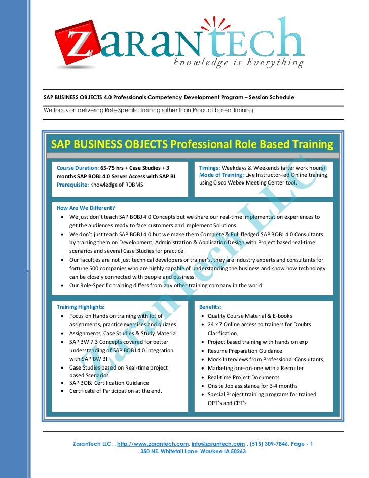 SAP BUSINESS OBJECTS 4.0 Professionals Competency Development Program – Session ScheduleWe focus on delivering Role-Specif...