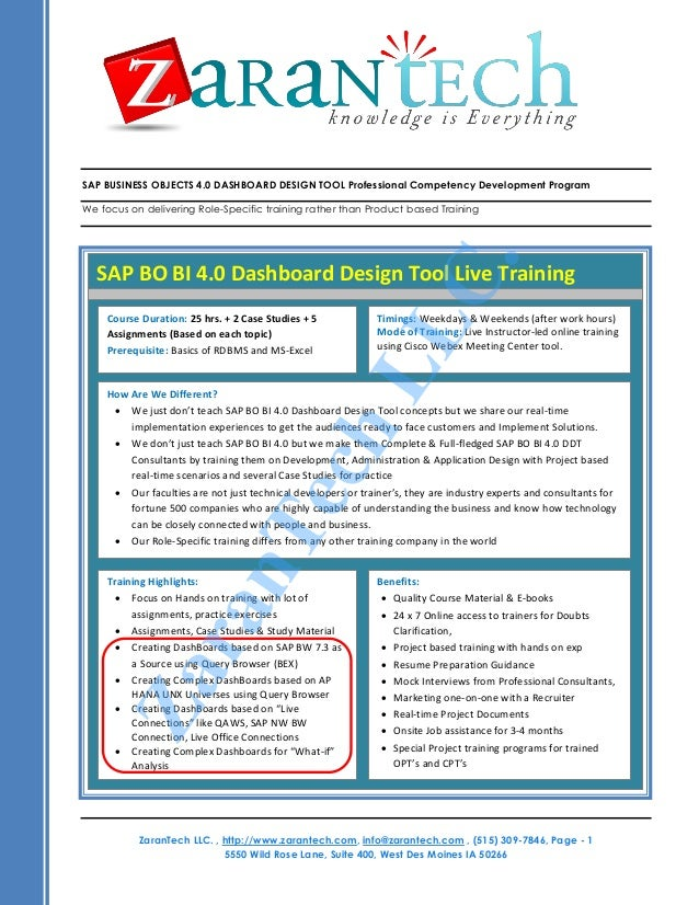 SAP BUSINESS OBJECTS 4.0 DASHBOARD DESIGN TOOL Professional Competency Development ProgramWe focus on delivering Role-Spec...