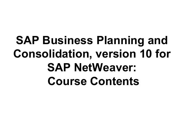 sap business planning and consolidation pdf