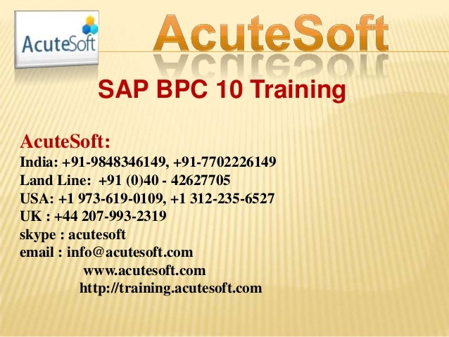 Sap bpc 10 training