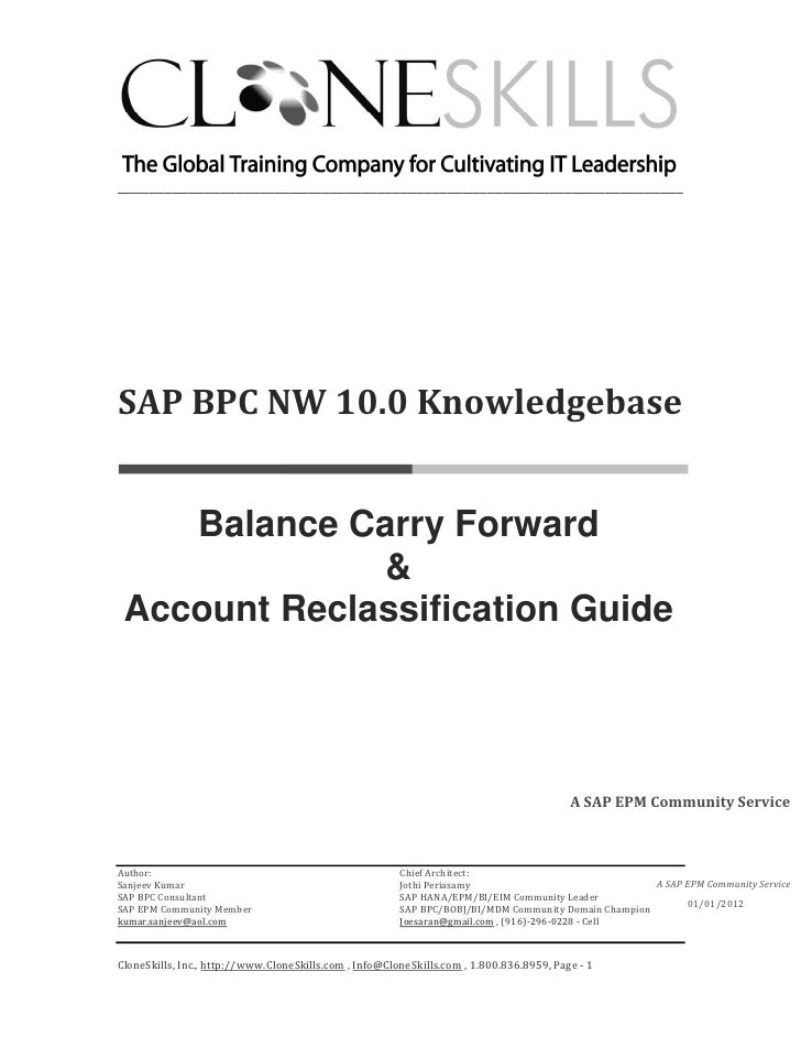 SAP BPC NW 10.0 Knowledgebase - Balance Carry Forward and Account Reclassification Guide
