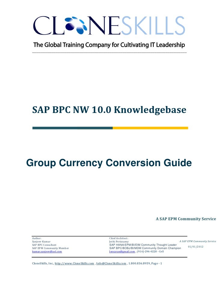 ________________________________________________________________________ SAP BPC NW 10.0 KnowledgebaseGroup Currency Conve...