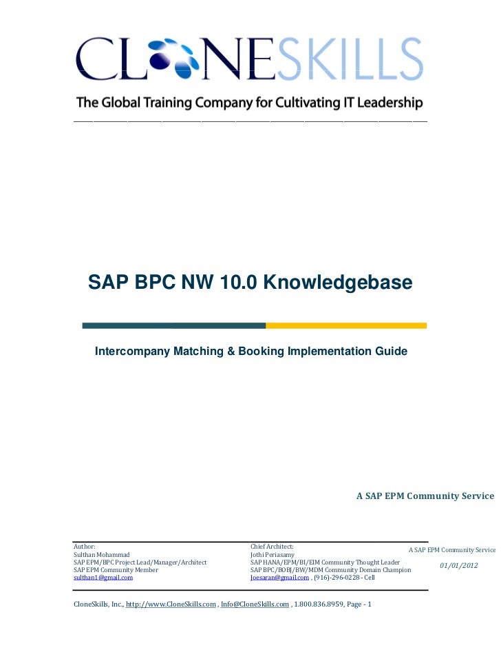 ________________________________________________________________________    SAP BPC NW 10.0 Knowledgebase      Intercompan...