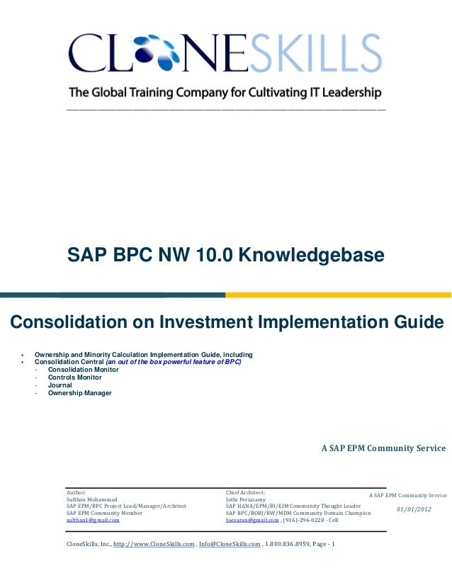 Sapbpc nw 10.0 consolidations ownership and minority interest calculations v2