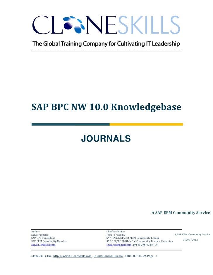 SAP BPC NW 10.0 Journals