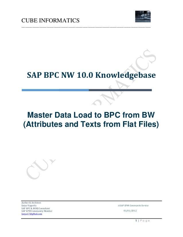 CUBE INFORMATICS ________________________________________________________________________  SAP BPC NW 10.0 Knowledgebase  ...